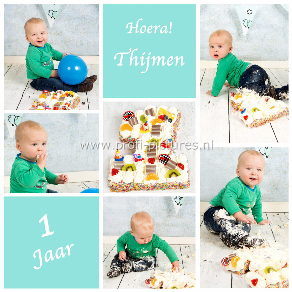 Collage cake smash Thijmen